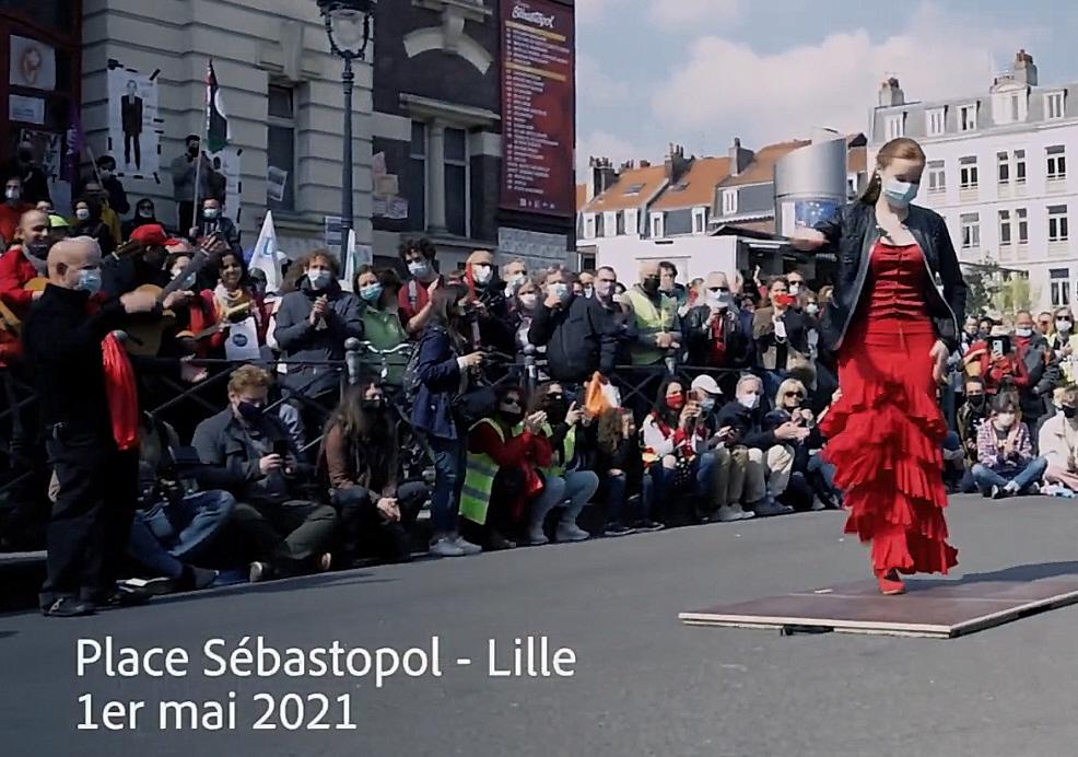 SEGUIR BAILANDO FLASHMOB LILLE Manifestation 1er Mai Théâtre Sébastopol avec la participation des artistes de la PEÑA ESTRELLA